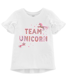 Carter's Little Girls Team Unicorn Graphic T-Shirt
