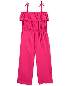 Carter's Little & Big Girls Ruffled Bow-Strap Jumpsuit