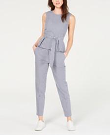Nine West Belted Gingham Blouse & Belted Pants
