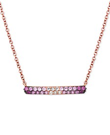 "Strawberry Layer Cake Ruby Pink Sapphire (5/8 ct. t.w.) and Vanilla Sapphire (1/6 ct. t.w.) 18"" Bar Necklace in 14k Rose Gold"