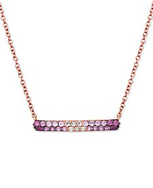 "Le Vian® Strawberry Layer Cake Ruby Pink Sapphire (5/8 ct. t.w.) and Vanilla Sapphire (1/6 ct. t.w.) 18"" Bar Necklace in 14k Rose Gold"