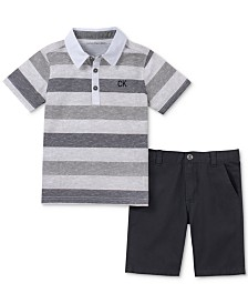 Calvin Klein Baby Boys 2-Pc. Striped Polo Shirt & Shorts Set