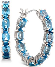 Blue Topaz (5-1/3 ct. t.w.) Hoop Earrings in Sterling Silver