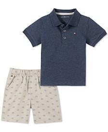 Tommy Hilfiger Baby Boys 2-Pc. Polo Shirt & Printed Shorts Set