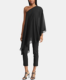 Lauren Ralph Lauren One-Shoulder Cape Jumpsuit