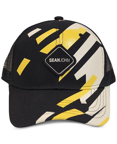 Sean John Men's Geo Gloss Patch Merrow Edge Mountain Trucker Hat, Created for Macy's