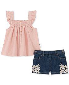 Calvin Klein Little Girls 2-Pc. Smocked Tank Top & Denim Shorts Set