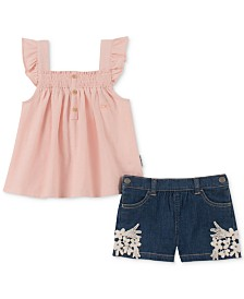 Calvin Klein Toddler Girls 2-Pc. Smocked Tank Top & Denim Shorts Set
