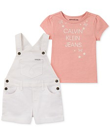 Calvin Klein Little Girls 2-Pc. T-Shirt & Shortalls Set