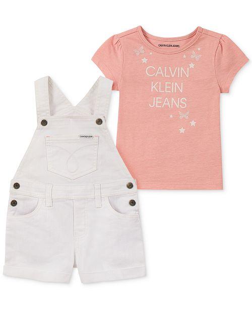 Calvin Klein Toddler Girls 2-Pc. T-Shirt & Shortalls Set