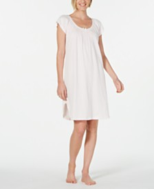 Miss Elaine Embroidered Smocking-Trim Nightgown