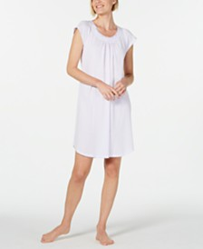 Miss Elaine Lace-Trim Pointelle Knit Nightgown