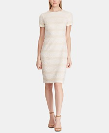 Lauren Ralph Lauren Striped Lace Dress