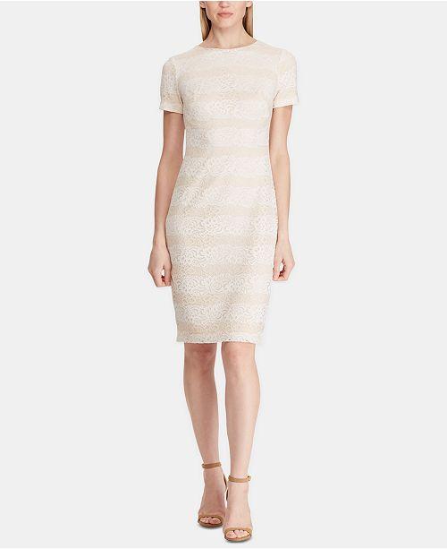 Lauren Ralph Lauren Striped Lace Dress