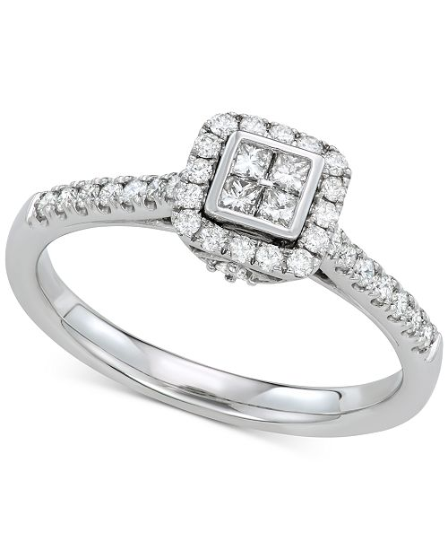 Macy's Diamond Cluster Engagement Ring (3/8 ct. t.w.) in 14k White Gold