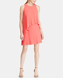 Lauren Ralph Lauren Petite Asymmetrical-Overlay Dress