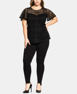 City Chic Shorts TRENDY PLUS SIZE SERENITY SHORT-SLEEVE TOP