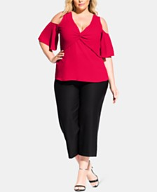City Chic Trendy Plus Size Cold-Shoulder Twist Top