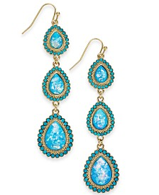 Thalia Sodi Gold-Tone Stone Triple Drop Earrings, Created for Macy's