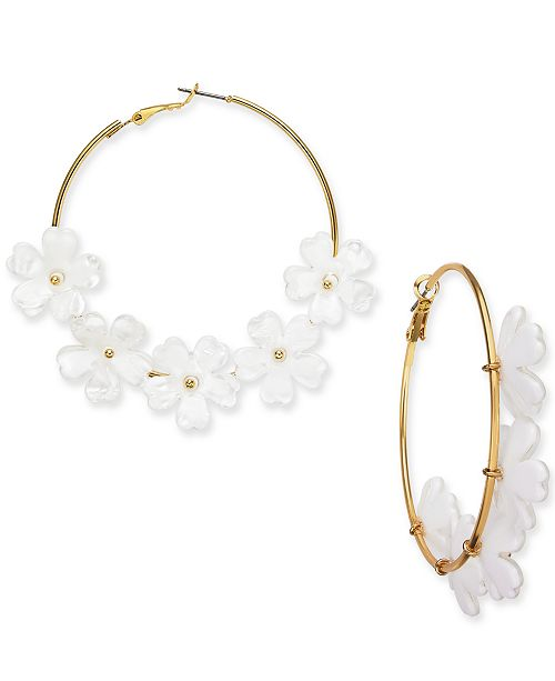 INC International Concepts INC Gold-Tone Flower Large Hoop Earrings , Created for Macy's