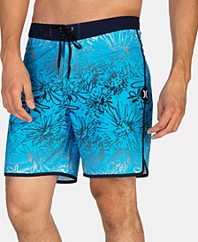 "Men's Phantom Sweet Stretch Ombré Floral-Print 18"" Board Shorts"
