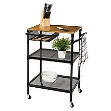 "36"" Kitchen Cart with Wheels, Storage Drawer and Handle"