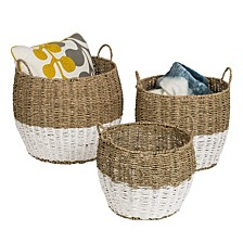Set of 3 Round Nesting Seagrass Baskets with Handles