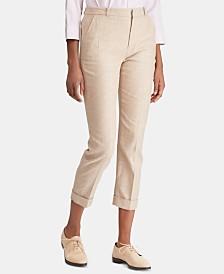 Lauren Ralph Lauren Petite Linen Blend Glen Plaid Skinny Pants