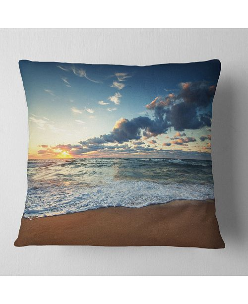 "Design Art Designart 'Sunrise and Glowing Waves In Ocean' Seascape Throw Pillow - 16"" x 16"""
