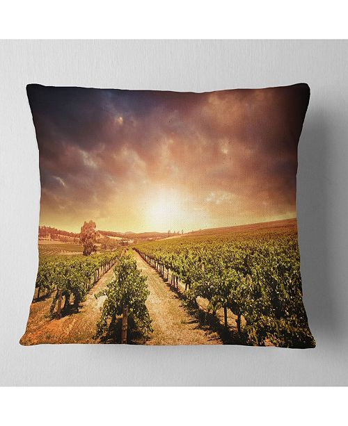 "Design Art Designart 'Vineyard With Stormy Sunset' Landscape Printed Throw Pillow - 16"" x 16"""