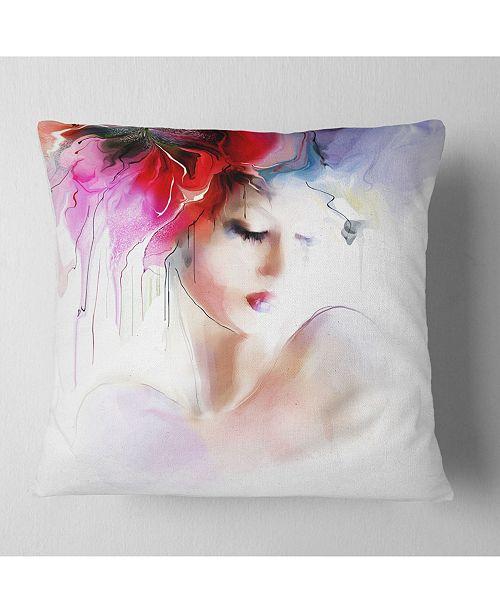 "Design Art Designart 'Fashion Woman Illustration' Abstract Throw Pillow - 16"" x 16"""