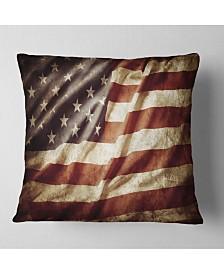 "Designart 'American Flag' Contemporary Throw Pillow - 26"" x 26"""