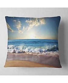 "Designart 'Sea Sunset' Seascape Photography Throw Pillow - 26"" x 26"""