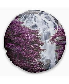 "Designart 'Klonglan Waterfall Floral' Abstract Throw Pillow - 16"" Round"