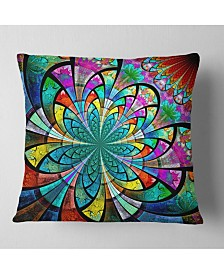 "Designart 'Multi Color Large Fractal Flower Pattern' Floral Throw Pillow - 26"" x 26"""