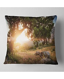 "Designart 'Picturesque Foros Mountains' Abstract Throw Pillow - 26"" x 26"""