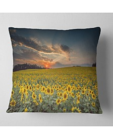 "Designart 'Sunflower Sunset With Cloudy Sky' Landscape Printed Throw Pillow - 26"" x 26"""