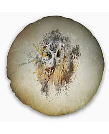 """Designart 'Large Gracing Owl' Animal Throw Pillow - 20"""" Round"""