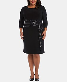 R & M Richards Plus Size Sequinned-Ruffle Sheath Dress