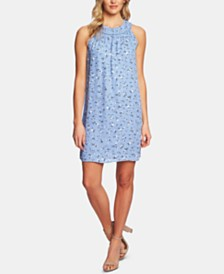 CeCe Printed Ruffle-Neck Shift Dress