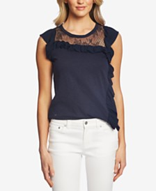 CeCe Cotton Lace Ruffled Top