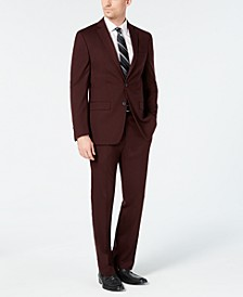 Men's Slim-Fit Flex Stretch Wrinkle-Resistant Wine Solid Suit