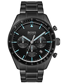 Men's Chronograph Trophy Black Stainless Steel Bracelet Watch 44mm