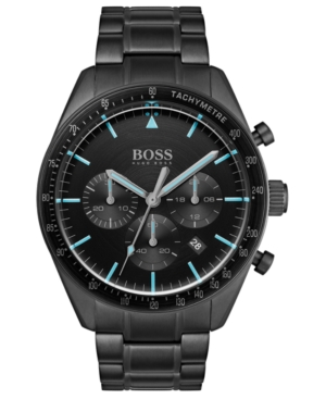 Boss Watches MEN'S CHRONOGRAPH TROPHY BLACK STAINLESS STEEL BRACELET WATCH 44MM