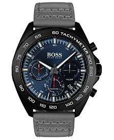 BOSS Men's Chronograph Intensity Gray Leather Strap Watch 44mm