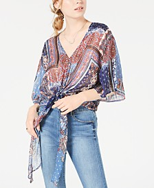 House of Polly Printed Scarf Top