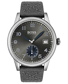 BOSS Men's Legacy Gray Fabric Strap Watch 44mm