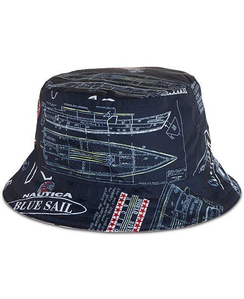 43e884764 Nautica Men's Blue Sail Reversible Logo Graphic Bucket Hat, Created ...