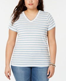 Lucky Brand Plus Size Venice Striped V-Neck Top