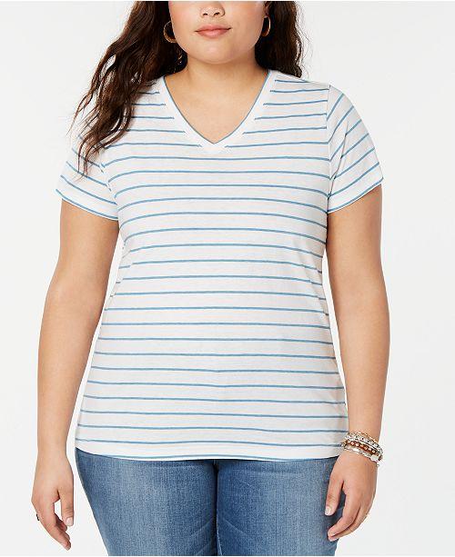 Lucky Brand Plus Size Venice Striped V-Neck Top